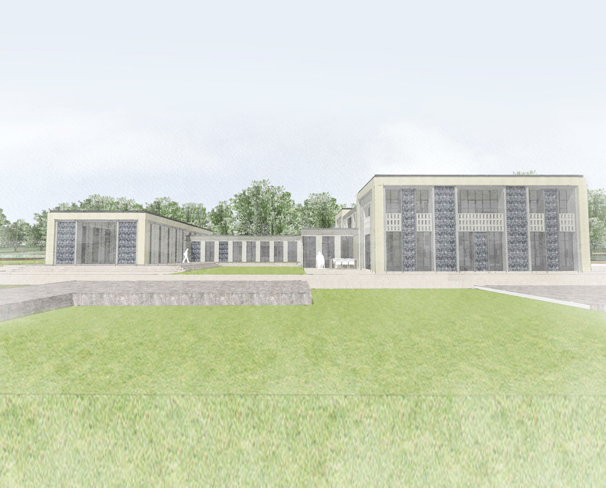 Garden elevation of Winchester. Designed by Hawkes Architecture this grand design, follows passive house principles.
