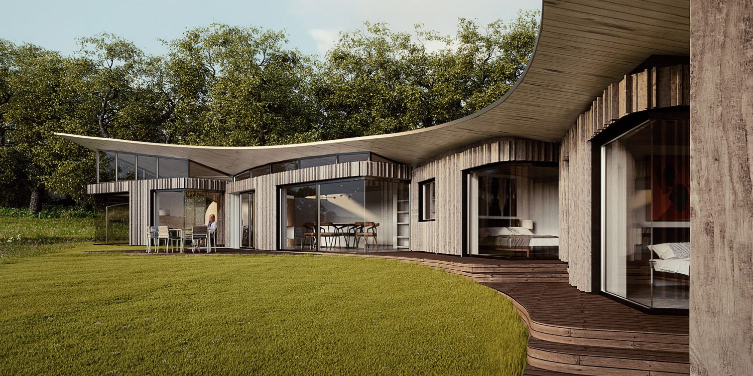 Ashdown Forest (Para 79). Designed by Hawkes Architecture, this energy efficient grand design, follows passive house principles.