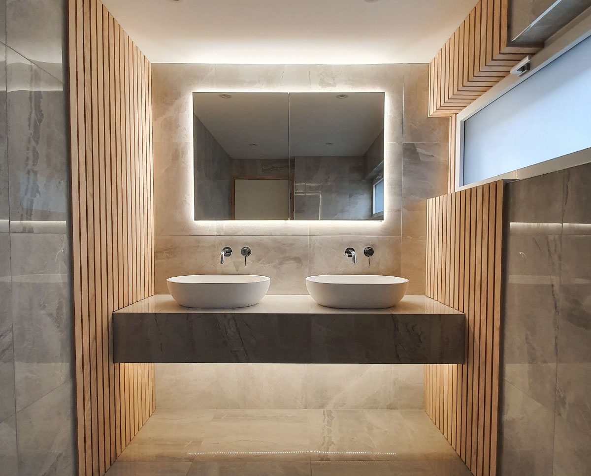 Double bathroom sinks at Bellropes. A sustainable energy efficient family home, remodelled by Hawkes Architecture.