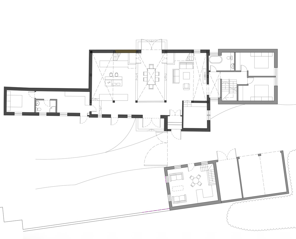 Ground floor plan of Bells Yew Barn. A sustainable, energy efficient family home designed and remodelled by Hawkes Architecture.