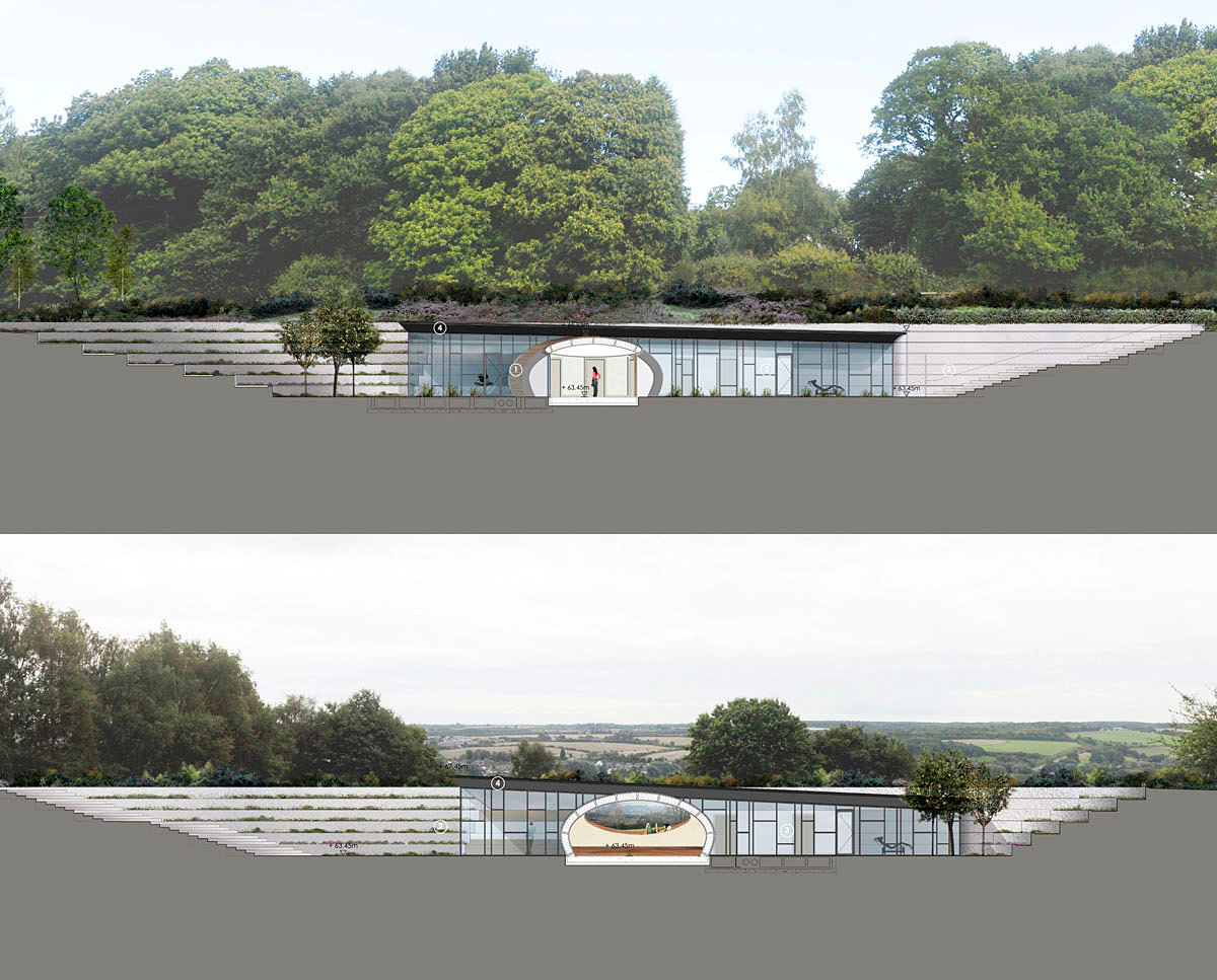Architect section drawings of Bigbury Hollow (PPS 7). Designed by Hawkes Architecture, this energy efficient grand design, follows passive house principles.