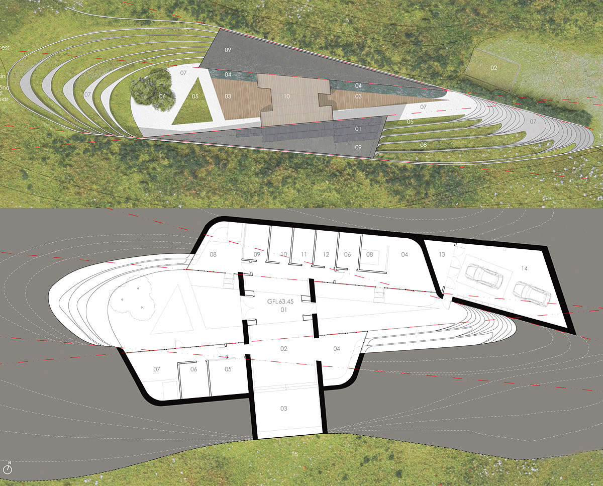 Plans of Bigbury Hollow (PPS 7). Designed by Hawkes Architecture, this energy efficient grand design, follows passive house principles.