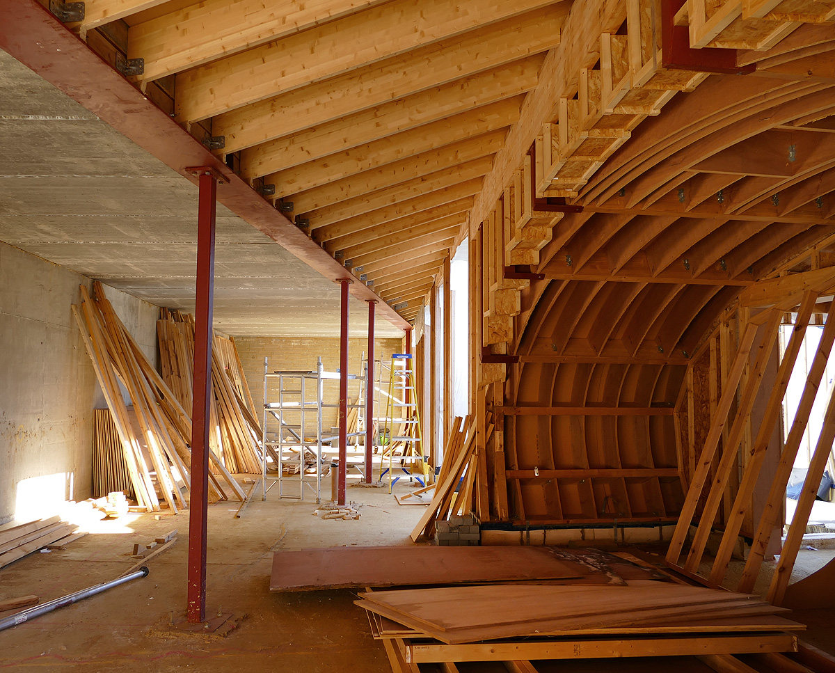 Interior construction at Bigbury Hollow (PPS 7). Designed by Hawkes Architecture, this energy efficient grand design, follows passive house principles.