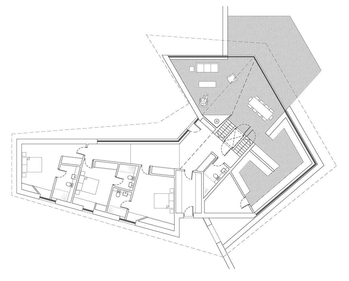 Plan drawing of Brooks Barn (Para 55). Designed by Hawkes Architecture, this energy efficient grand design, follows passive house principles.