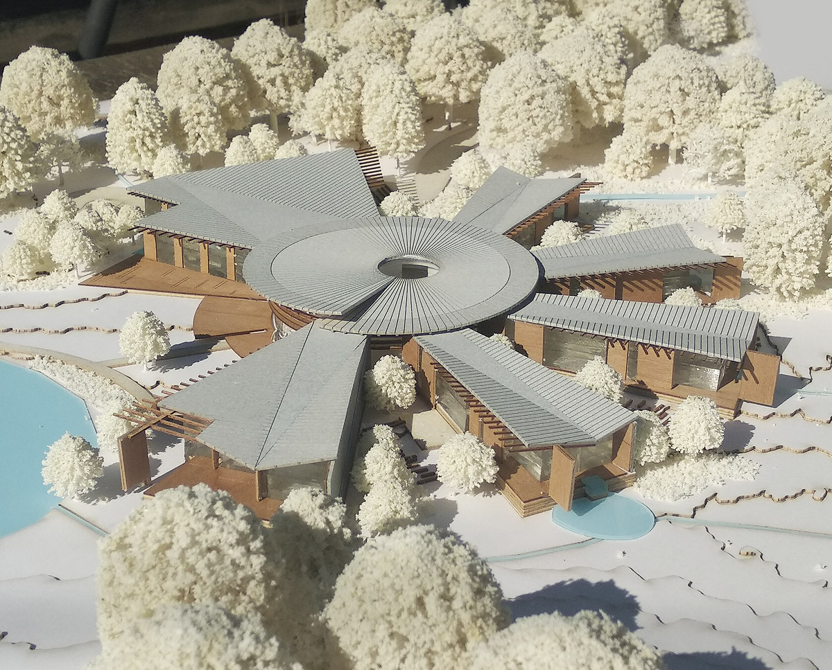 Landscape model of Cambridge (Para 79). Designed by Hawkes Architecture, this energy efficient grand design, follows passive house principles.