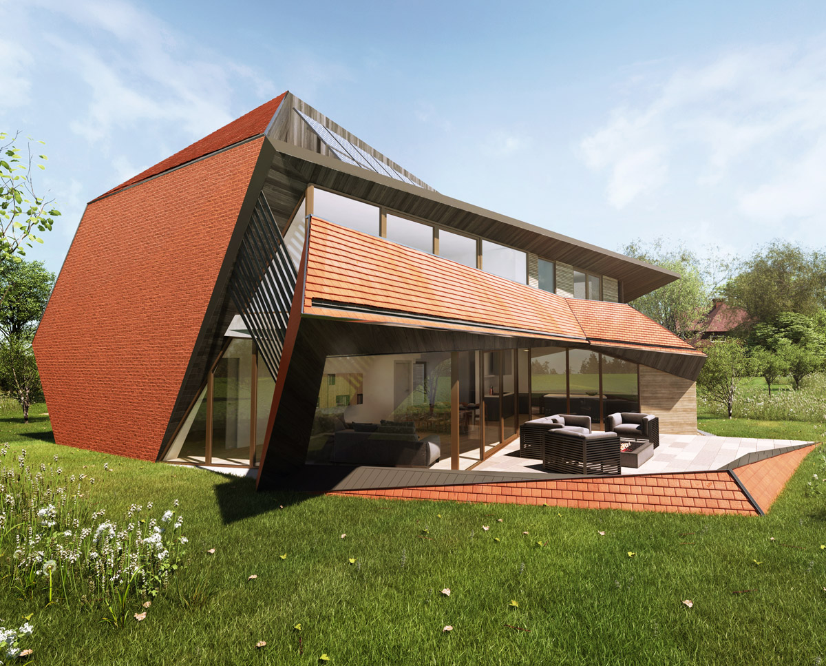 Exterior render of Cannon Barn (Para 79). Designed by Hawkes Architecture, this energy efficient grand design, follows passive house principles.