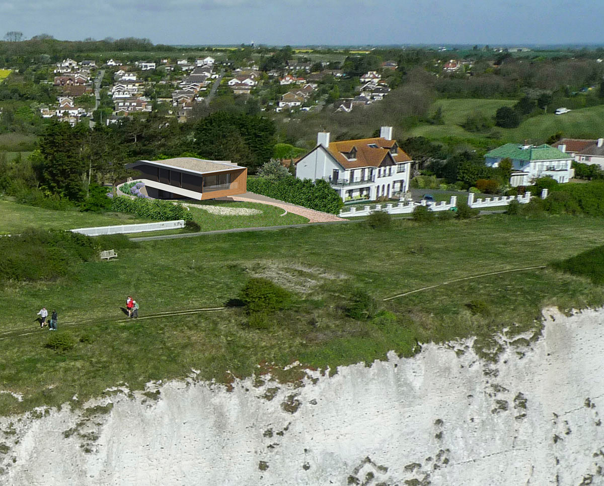 Aerial view of Cliff Top House (Para 55). Designed by Hawkes Architecture, this energy efficient grand design, follows passive house principles.