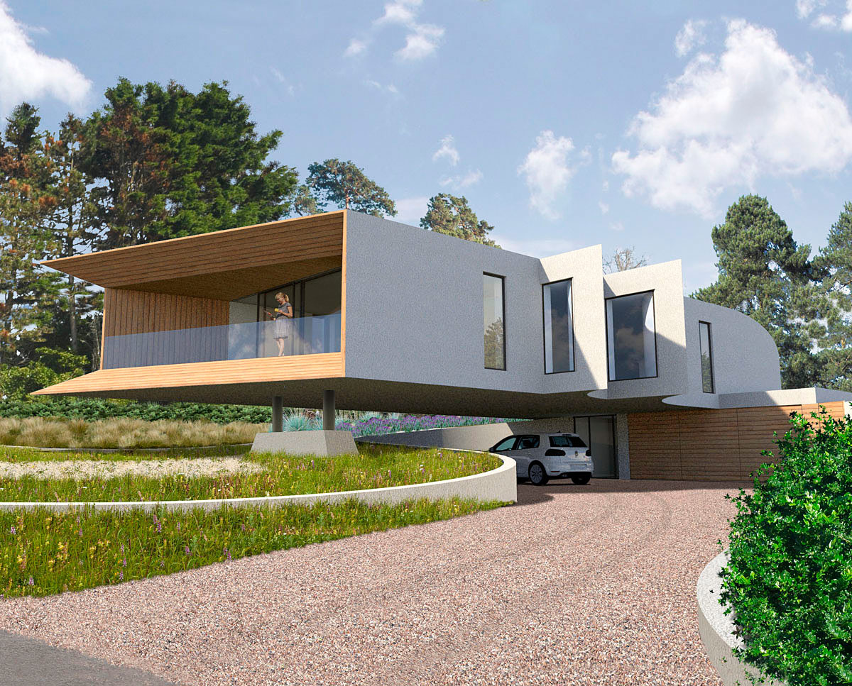 Exterior render of Cliff Top House (Para 55). Designed by Hawkes Architecture, this energy efficient grand design, follows passive house principles.