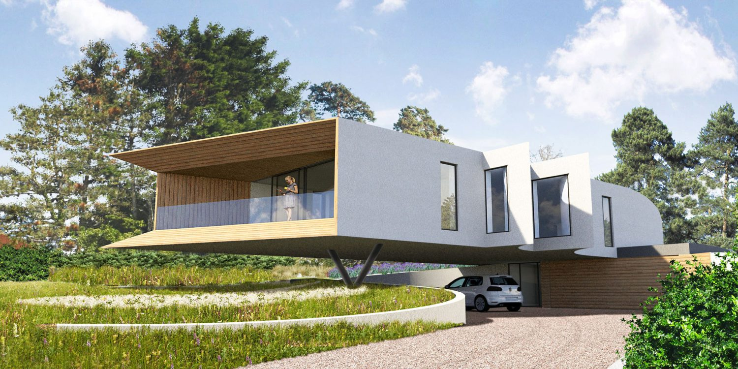 Cliff Top House (Para 55). Designed by Hawkes Architecture, this energy efficient grand design, follows passive house principles.