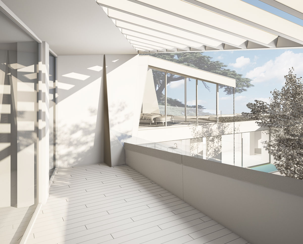 Exterior balcony render of Coach House. Designed by Hawkes Architecture this grand design, follows passive house principles.