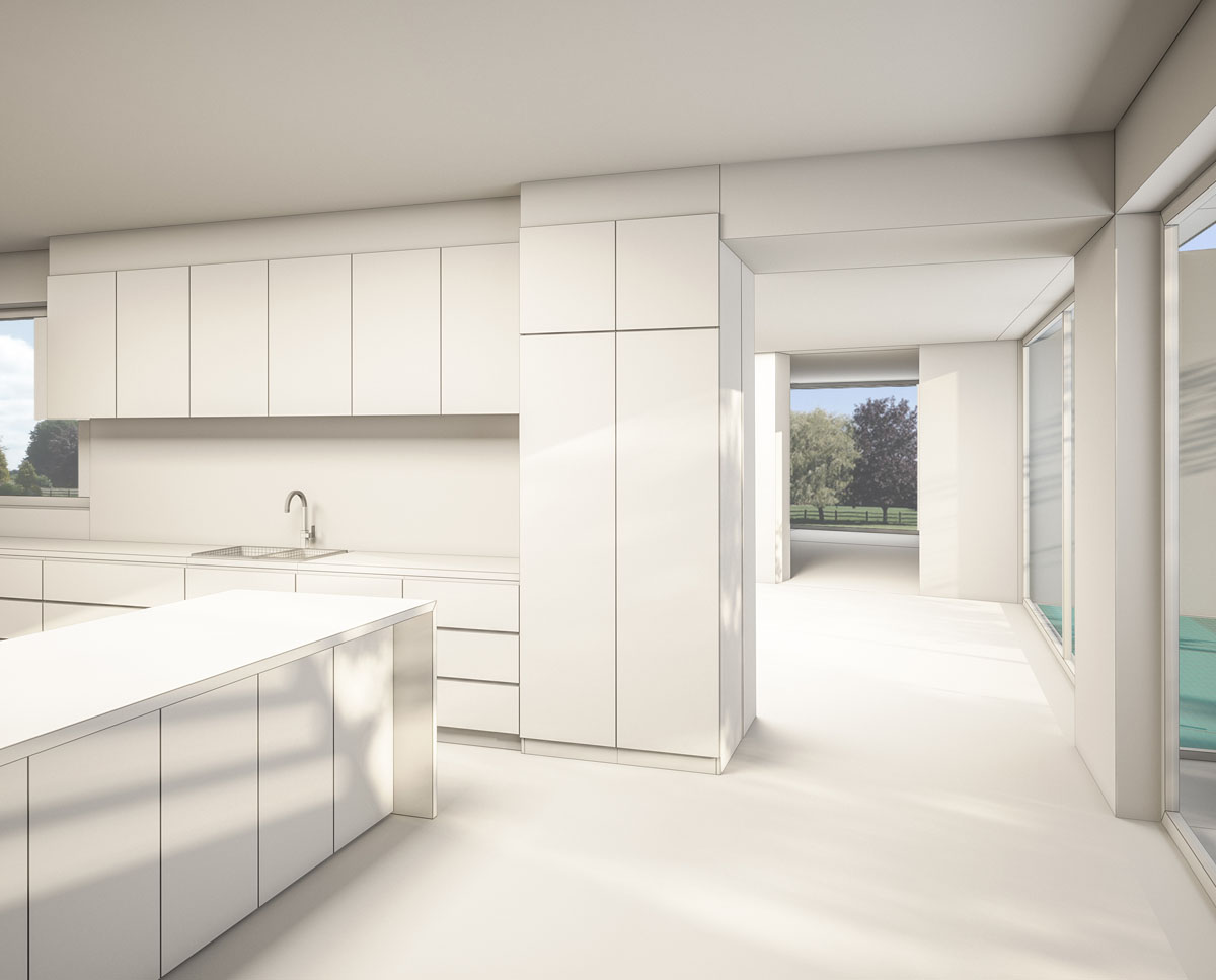 Kitchen render of Coach House. Designed by Hawkes Architecture this grand design, follows passive house principles.