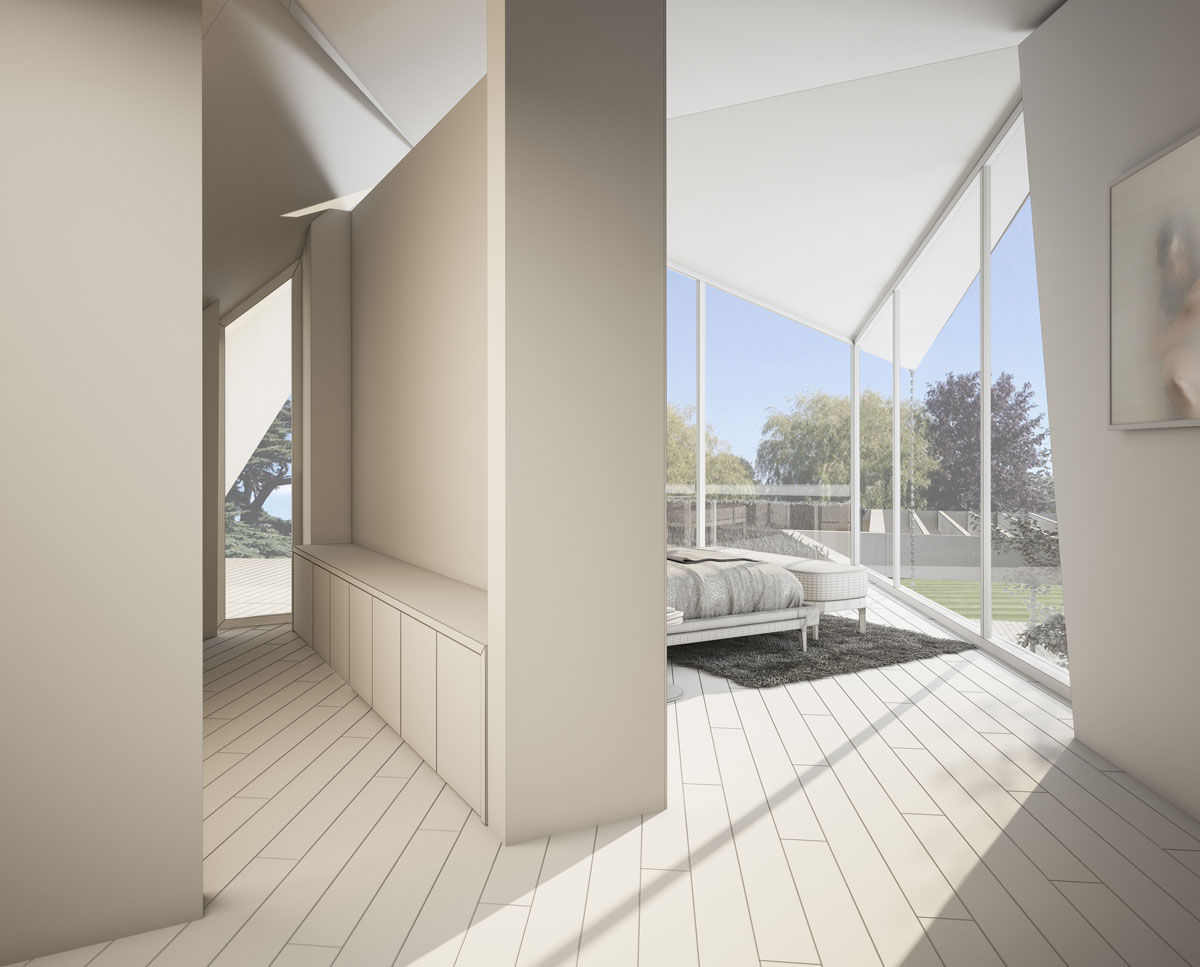 Bedroom render of Coach House. Designed by Hawkes Architecture this grand design, follows passive house principles.