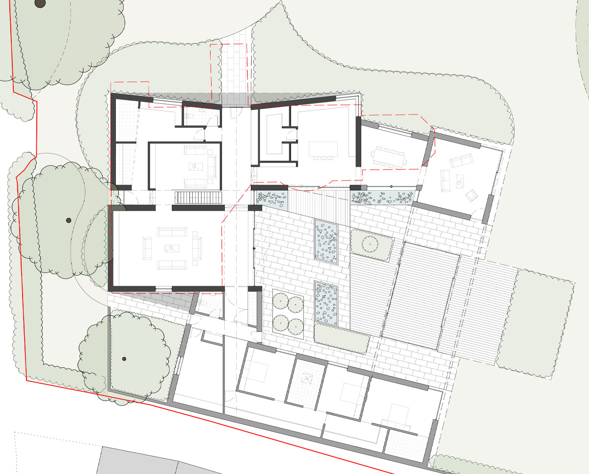Ground floor plan drawings of Coach House. Designed by Hawkes Architecture this grand design, follows passive house principles.