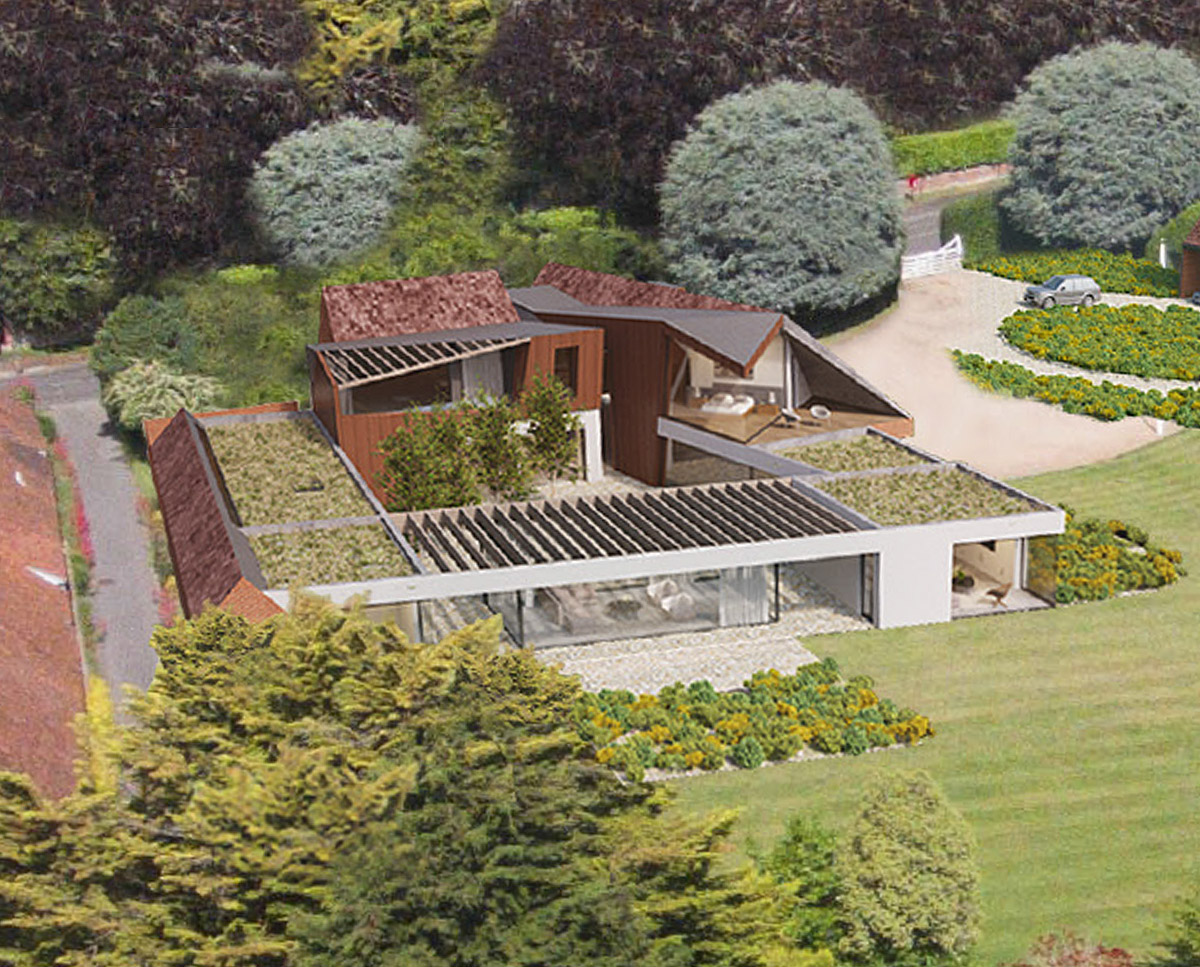 Aerial view of Coach House. Designed by Hawkes Architecture this grand design, follows passive house principles.