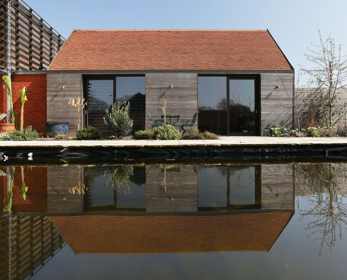 The pool house at Echo Barn (Para 55). Designed by Hawkes Architecture, this energy efficient grand design, follows passive house principles.