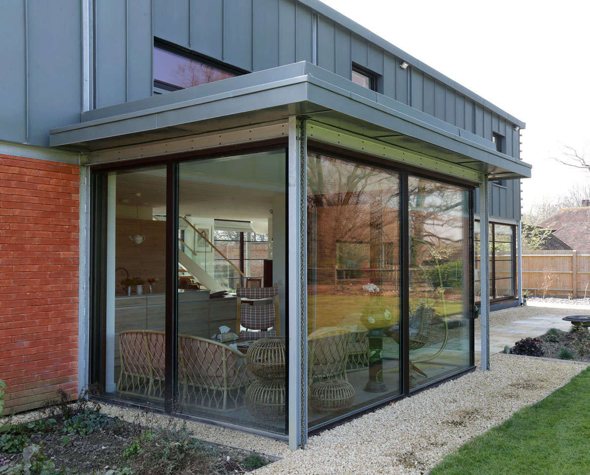 The glazed garden room at Echo Barn (Para 55). Designed by Hawkes Architecture, this energy efficient grand design, follows passive house principles.