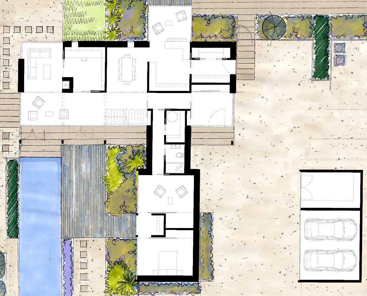 Plan drawings of Echo Barn (Para 55). Designed by Hawkes Architecture, this energy efficient grand design, follows passive house principles.