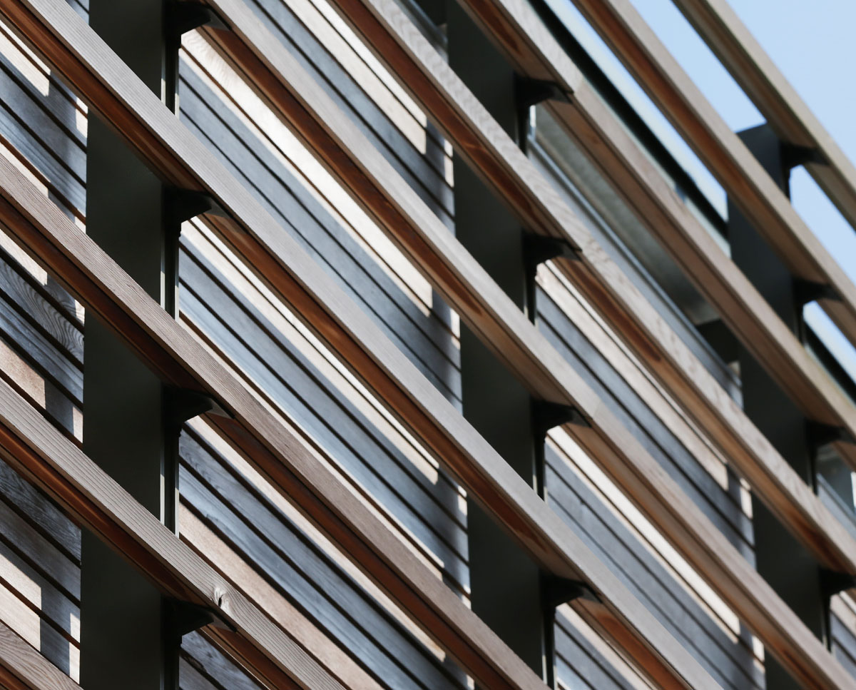 The brise soleil at Echo Barn (Para 55). Designed by Hawkes Architecture, this energy efficient grand design, follows passive house principles.