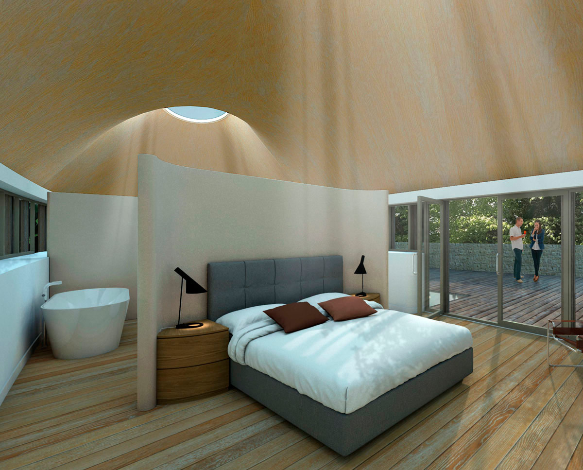 The master bedroom at Flight Farm (Para 55). Designed by Hawkes Architecture, this energy efficient grand design, follows passive house principles.