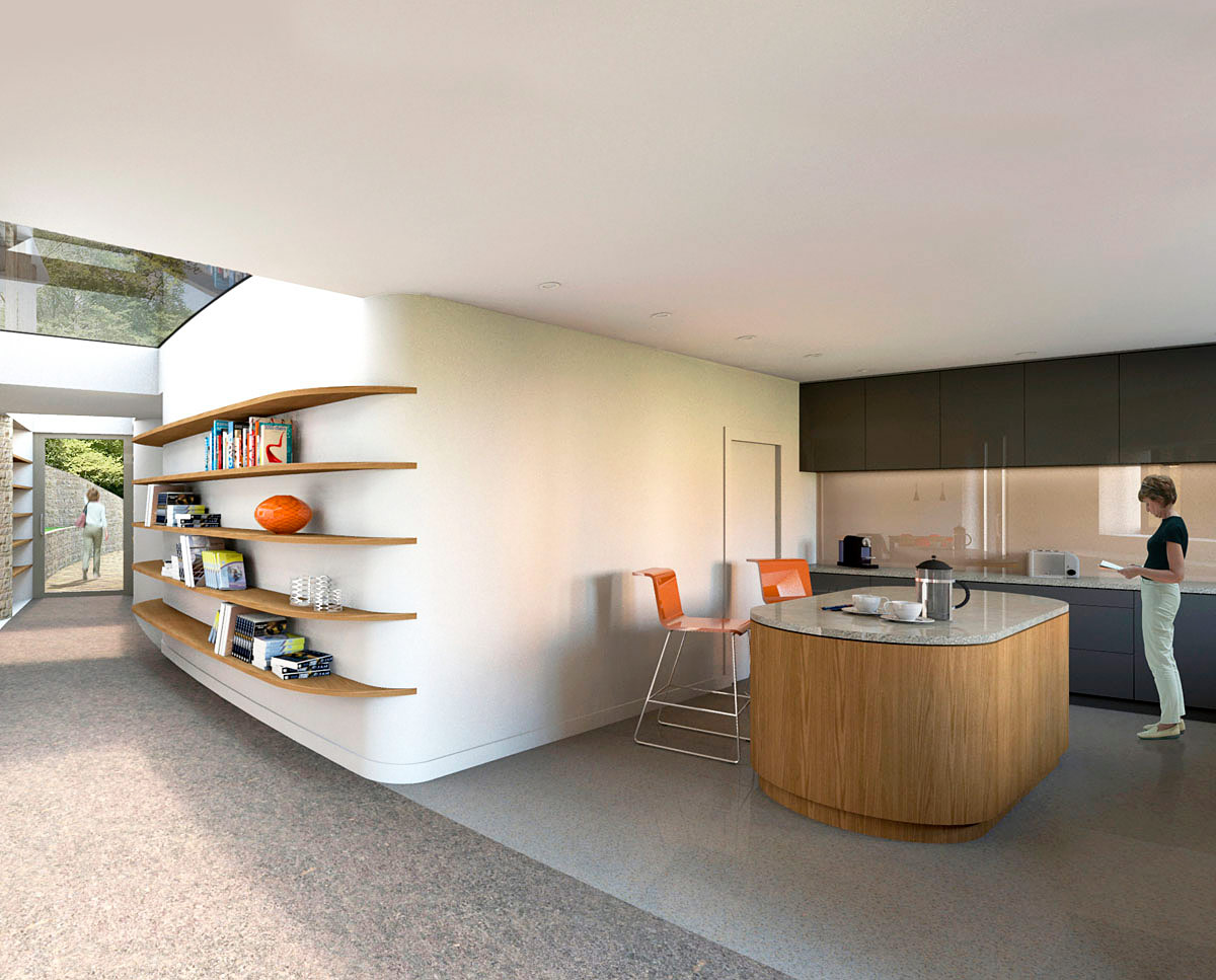 The kitchen at Flight Farm (Para 55). Designed by Hawkes Architecture, this energy efficient grand design, follows passive house principles.
