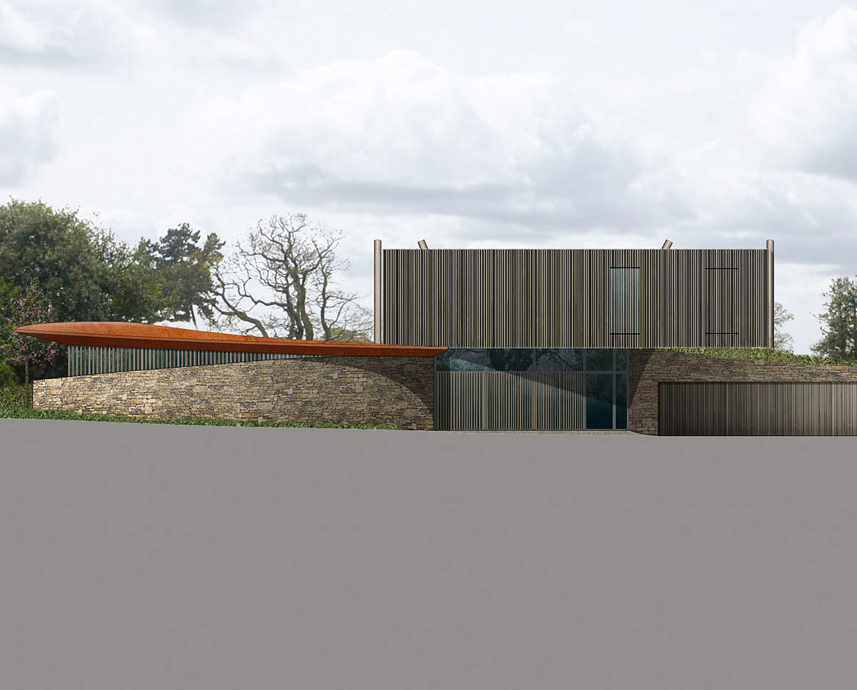 Entrance render of Furrows (Para 55). Designed by Hawkes Architecture, this energy efficient grand design follows passive house principles.