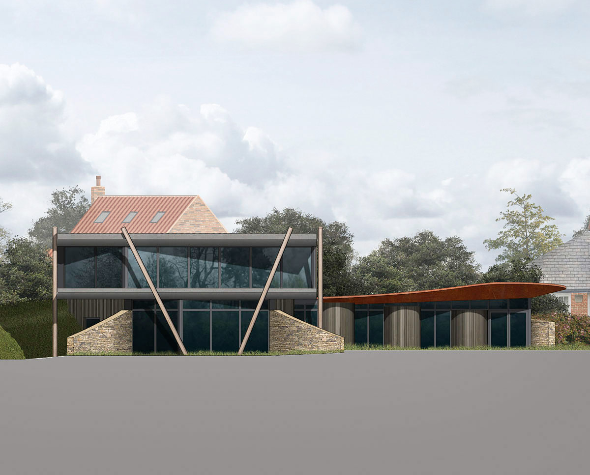 Exterior render of Furrows (Para 55). Designed by Hawkes Architecture, this energy efficient grand design follows passive house principles.