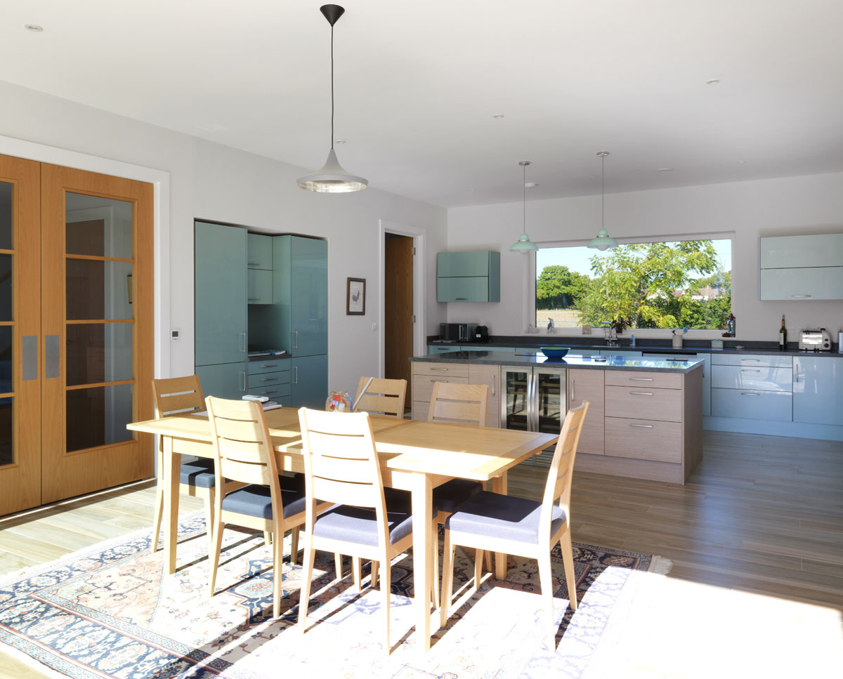 Dining area at Halfpenny House (Para 55). Designed by Hawkes Architecture, this energy efficient grand design, follows passive house principles.