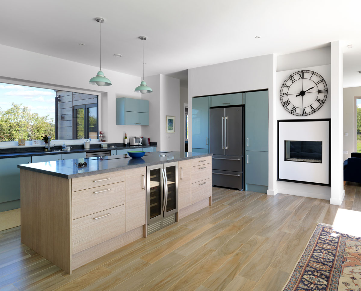 The kitchen at Halfpenny House (Para 55). Designed by Hawkes Architecture, this energy efficient grand design, follows passive house principles.