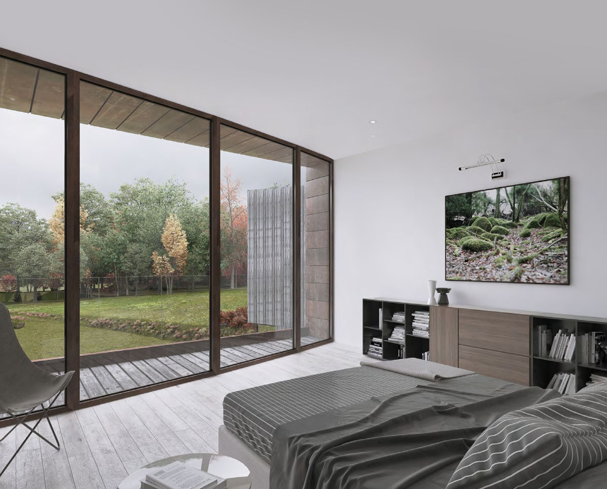 The bedroom at Hedgebank (Para 80). Designed by Hawkes Architecture, this energy efficient grand design, follows passive house principles.
