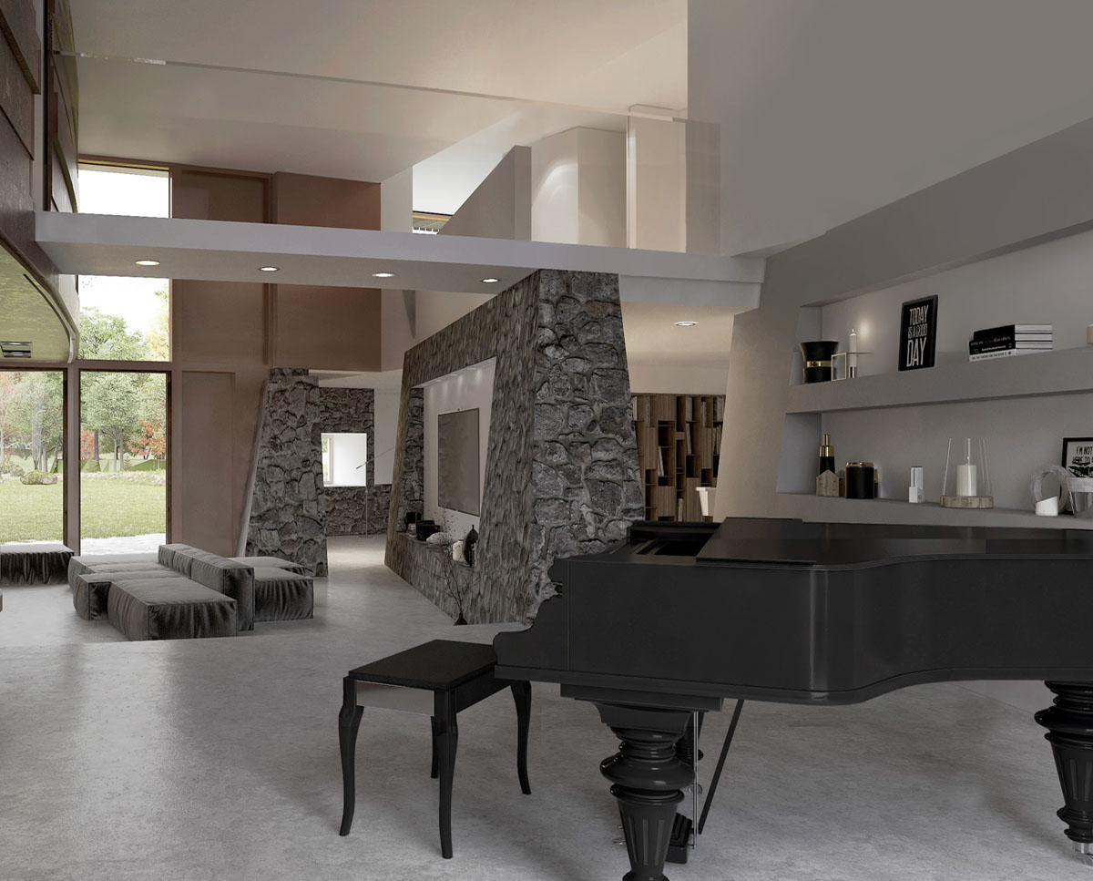 The music room at Hedgebank (Para 80). Designed by Hawkes Architecture, this energy efficient grand design, follows passive house principles.