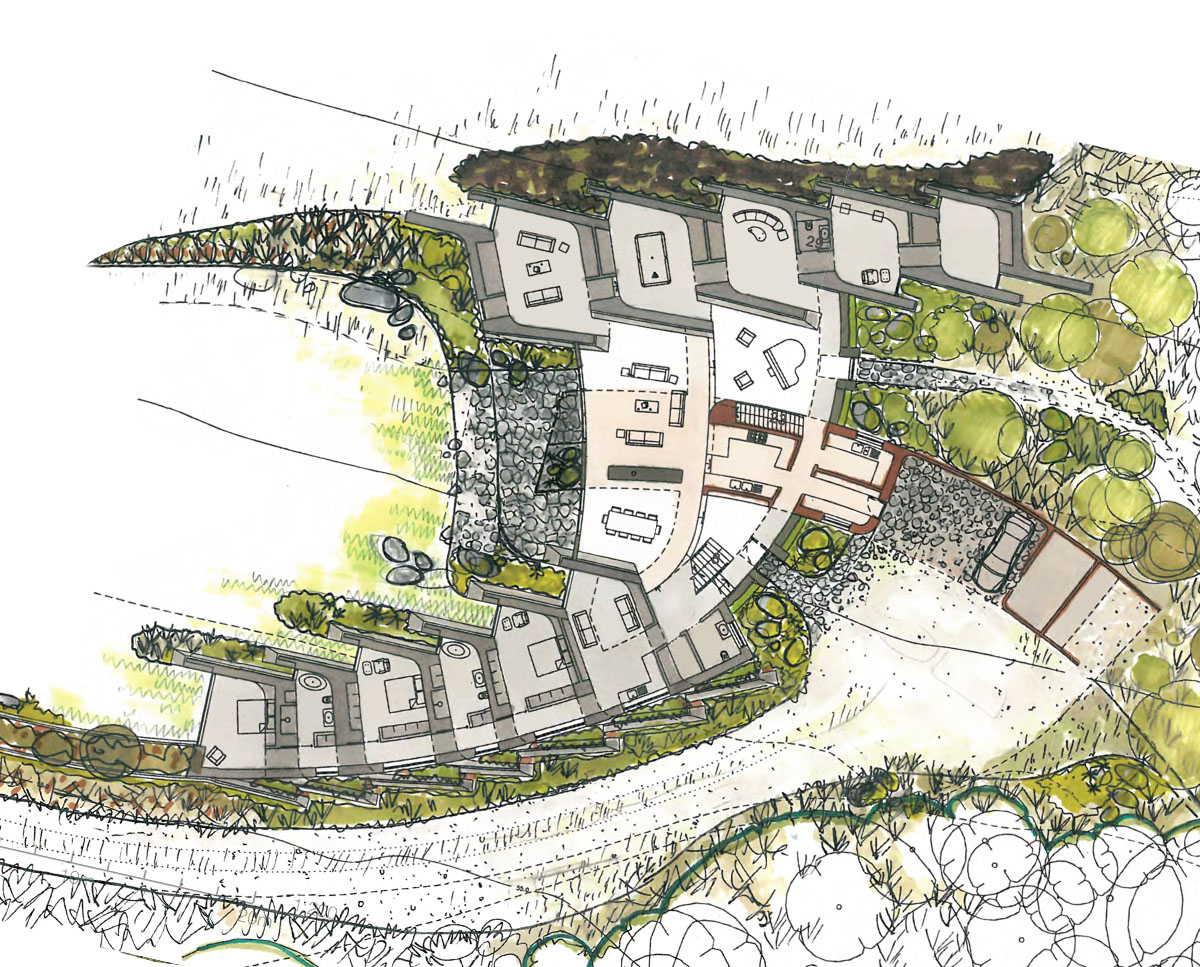 The plan drawing of Hedgebank (Para 80). Designed by Hawkes Architecture, this energy efficient grand design, follows passive house principles.
