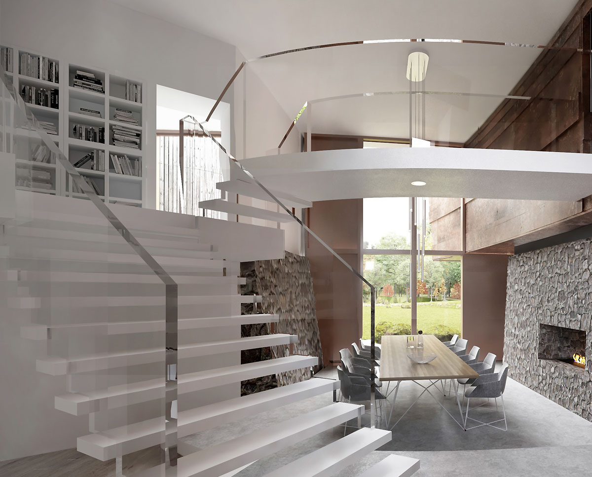 The internal staircase at Hedgebank (Para 80). Designed by Hawkes Architecture, this energy efficient grand design, follows passive house principles.
