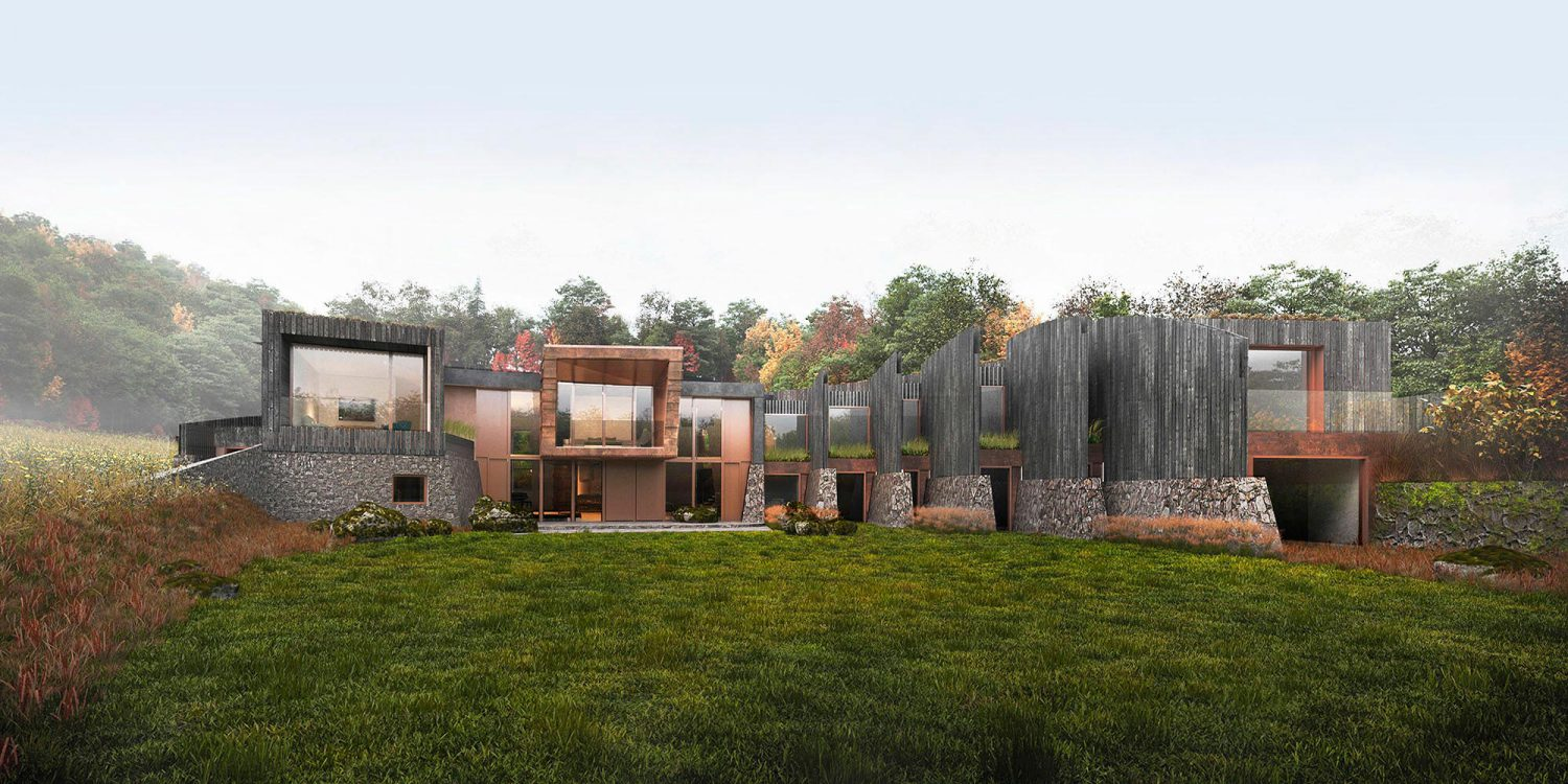 Hedgebank (Para 80). Designed by Hawkes Architecture, this energy efficient grand design follows passive house principles.