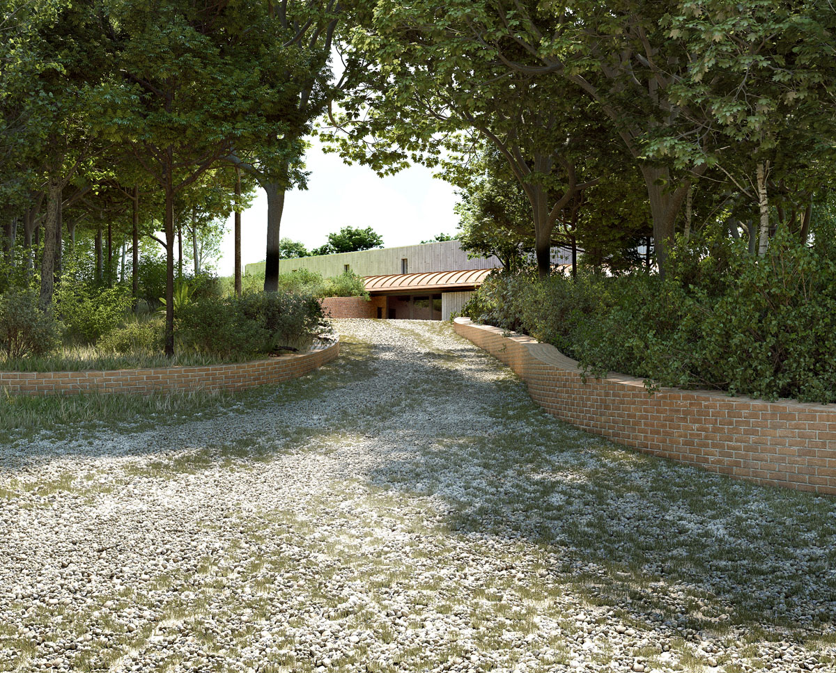 The driveway to Lake House (Para 79). Designed by Hawkes Architecture, this energy efficient grand design, follows passive house principles.