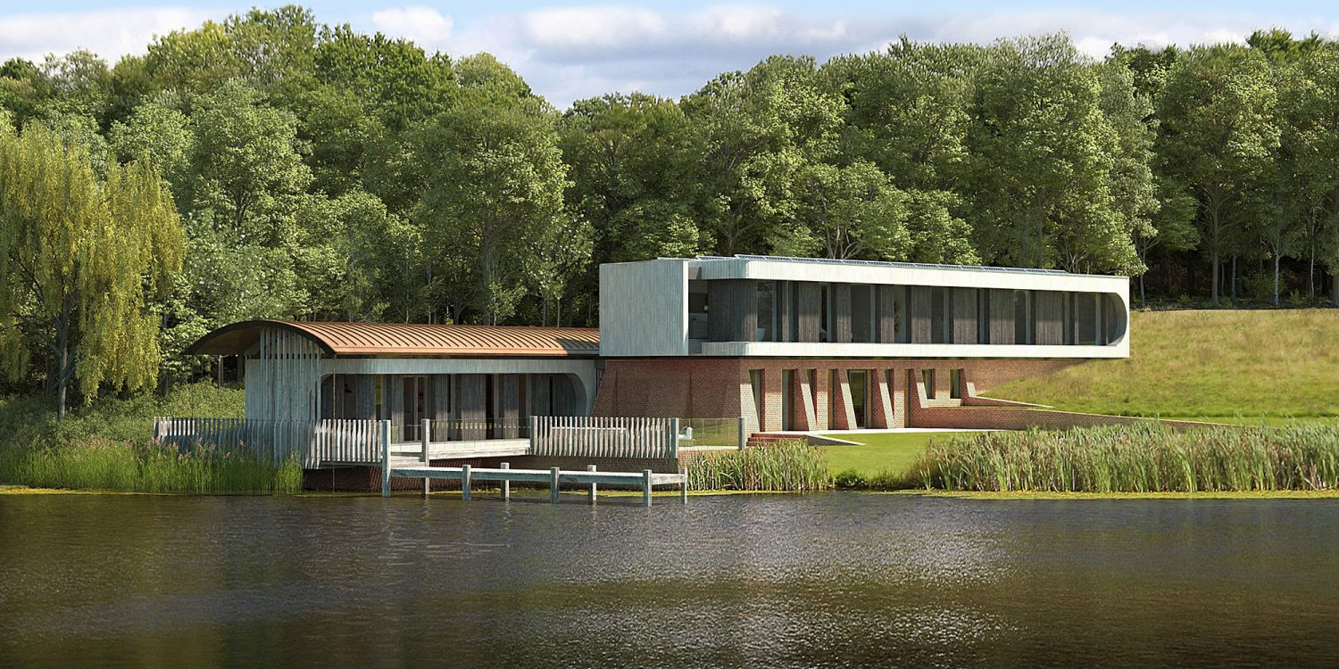 Lake House (Para 79). Designed by Hawkes Architecture, this energy efficient grand design, follows passive house principles.