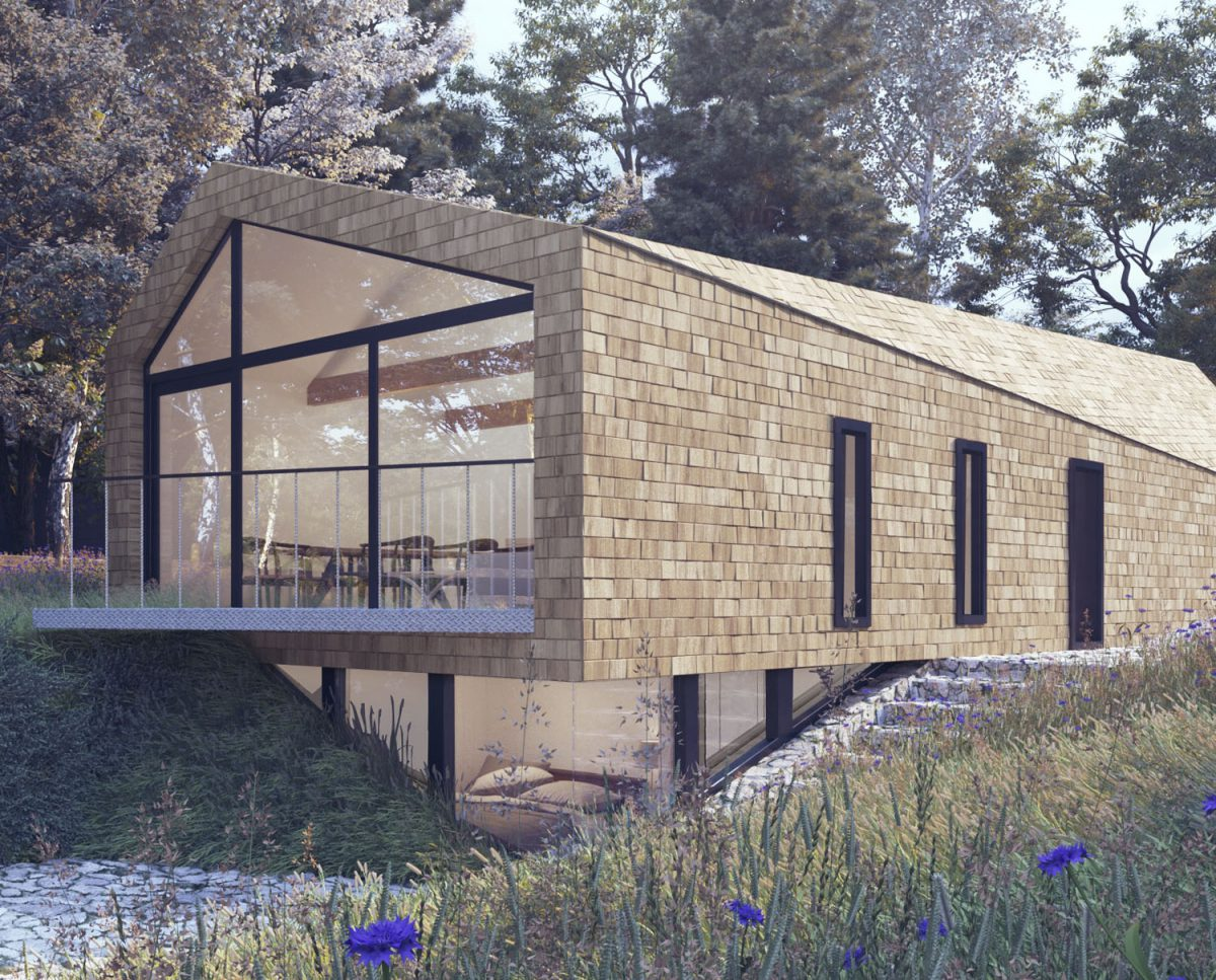 Render of Orchard Barn. A sustainable, energy efficient home designed by Hawkes Architecture.