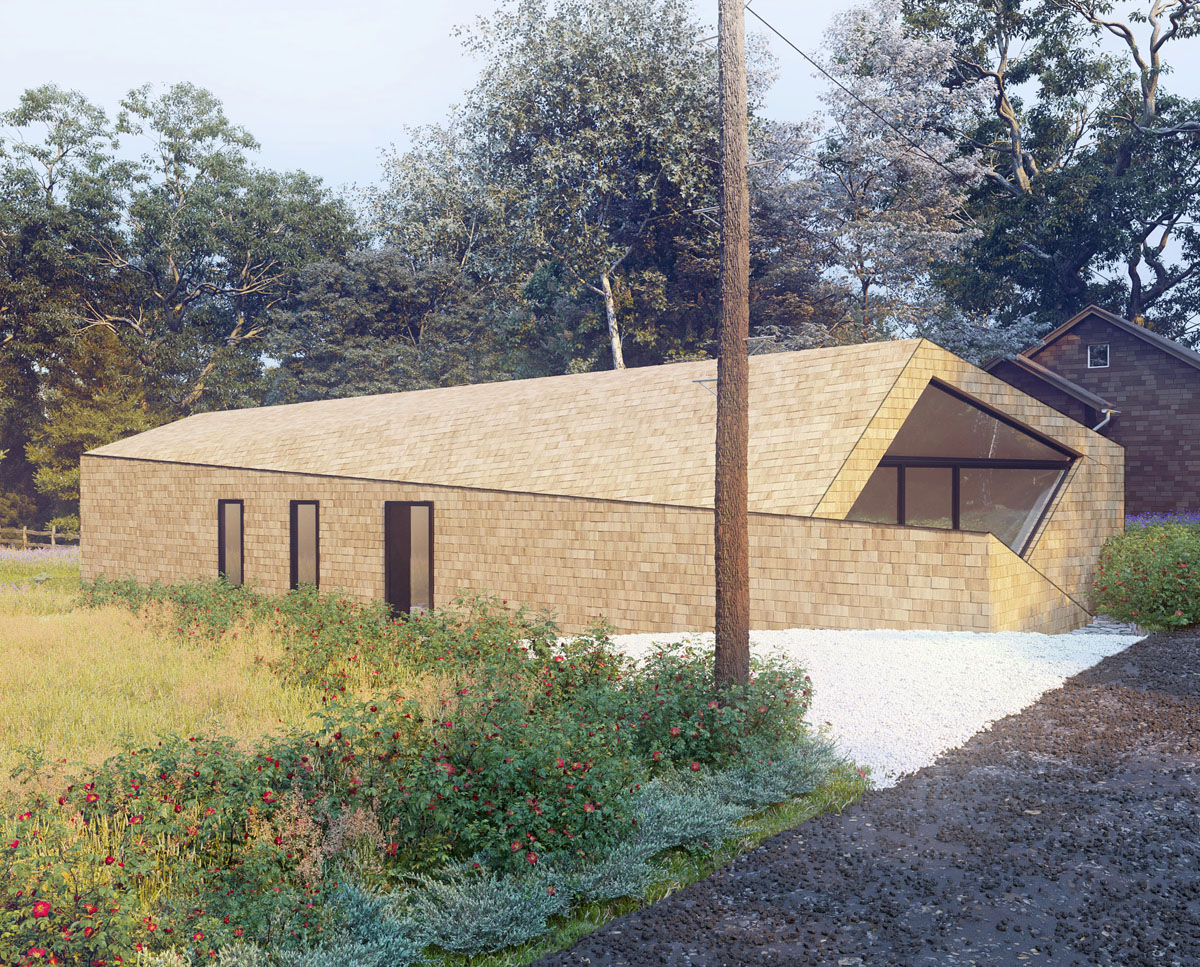 Finished north elevation of Orchard Barn. A sustainable, energy efficient home designed by Hawkes Architecture.