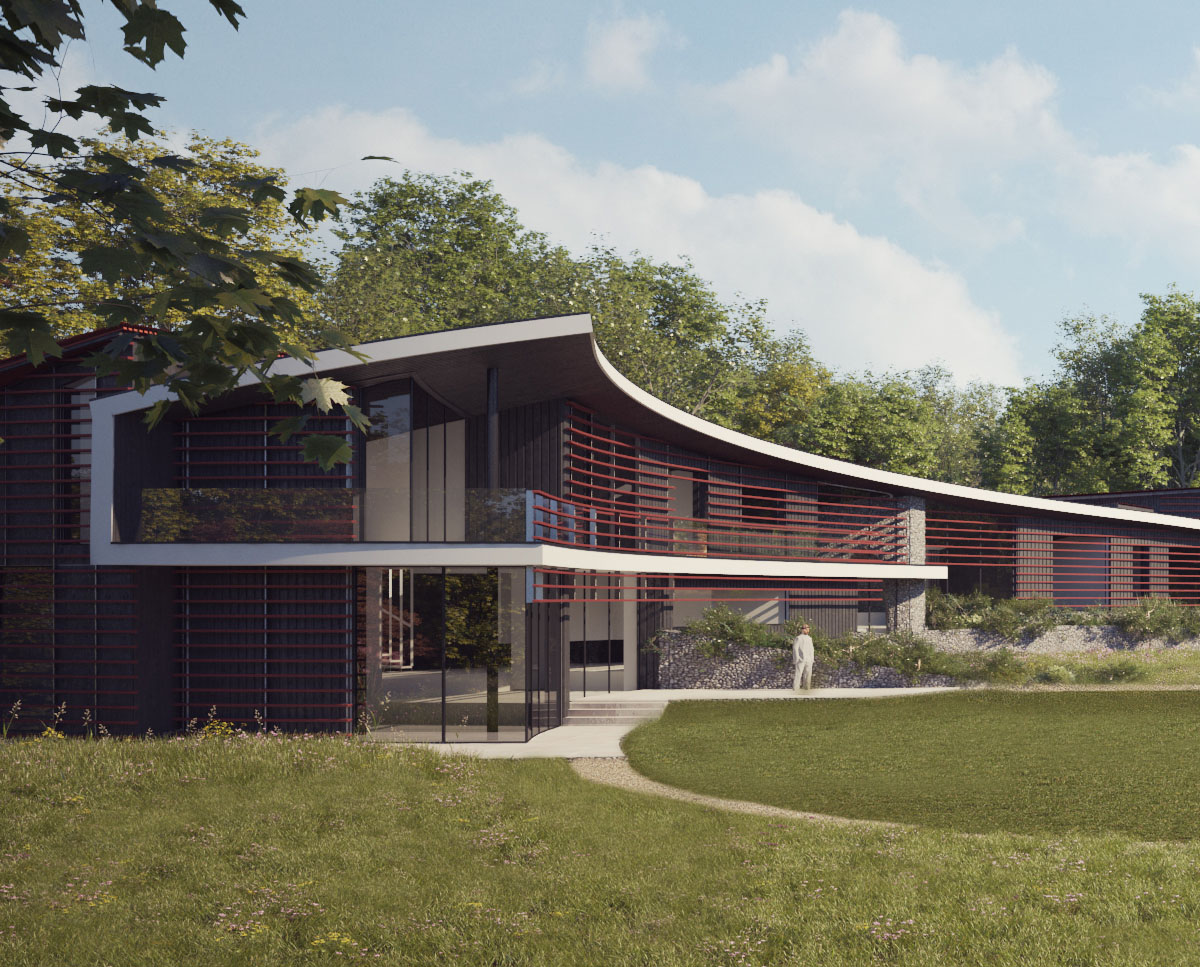 Side elevation render of Quarry House (Para 55). Designed by Hawkes Architecture, this energy efficient grand design, follows passive house principles.