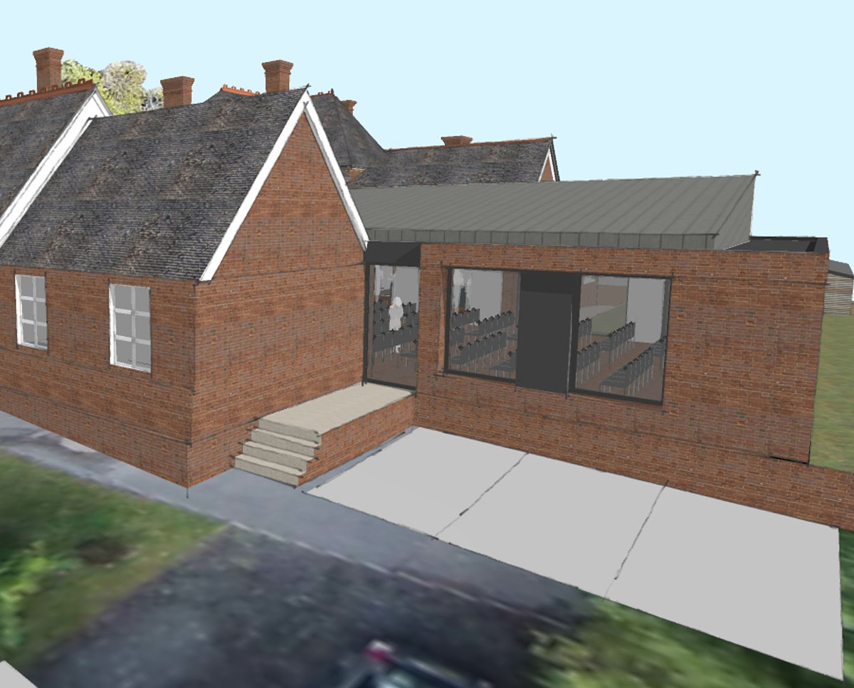 South elevation of Community Centre, a new build & remodelling project in Staplehurst, designed by Hawkes Architecture.