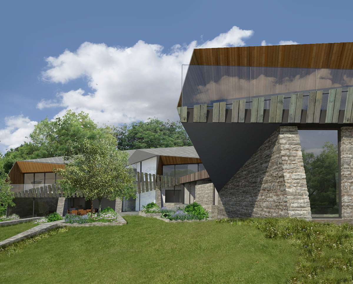 Detail render of Shew Valley (Para 134). Designed by Hawkes Architecture, this energy efficient grand design, follows passive house principles.