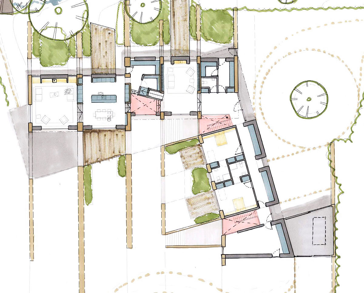 Plan drawing of Shew Valley. Designed by Hawkes Architecture, this energy efficient grand design, follows passive house principles.