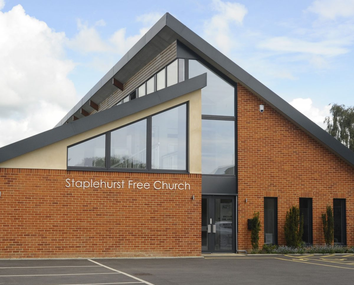 Entrance at Staplehurst Free Church, a new community building designed by Hawkes Architecture.