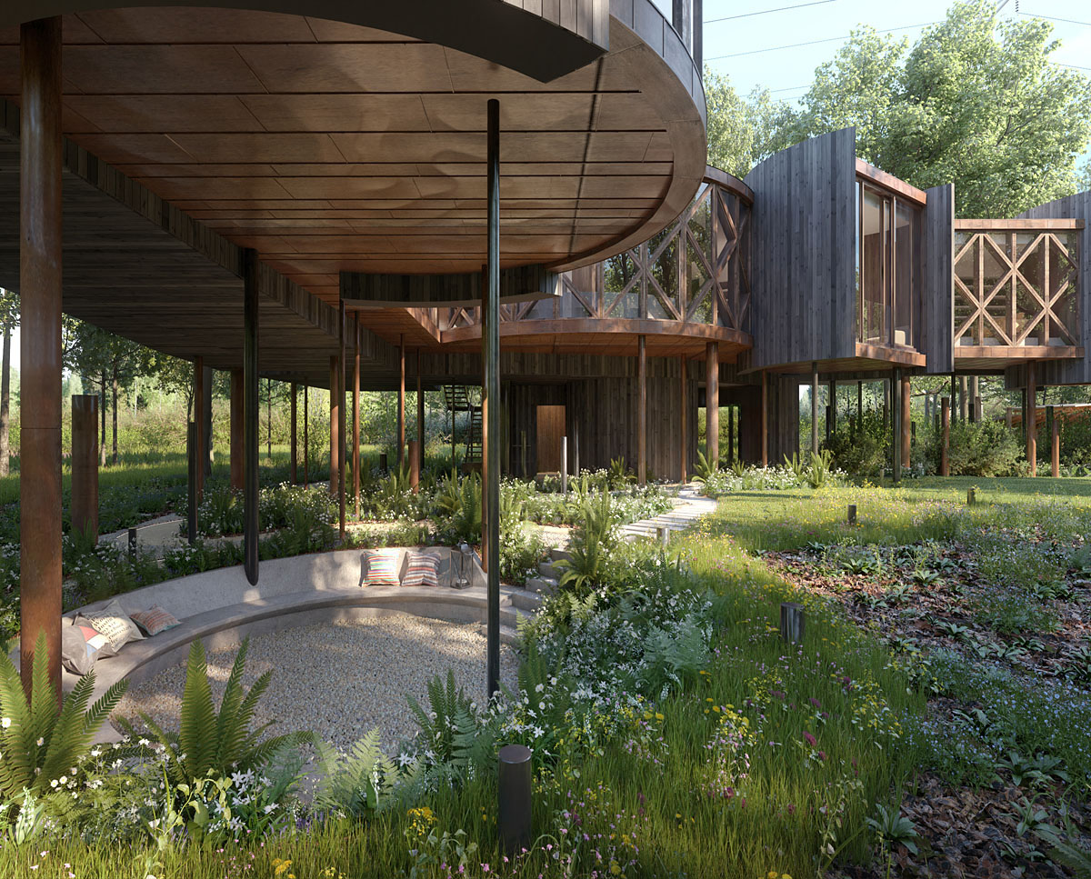 The private garden at Tree House (Para 55). Designed by Hawkes Architecture, this energy efficient grand design, follows passive house principles.