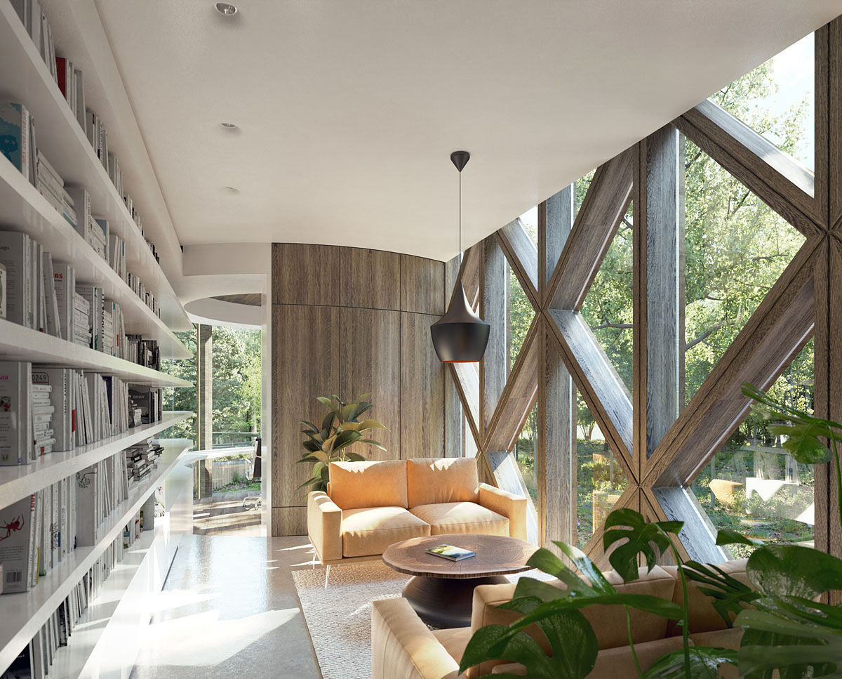 Internal library at Tree House (Para 55). Designed by Hawkes Architecture, this energy efficient grand design, follows passive house principles.