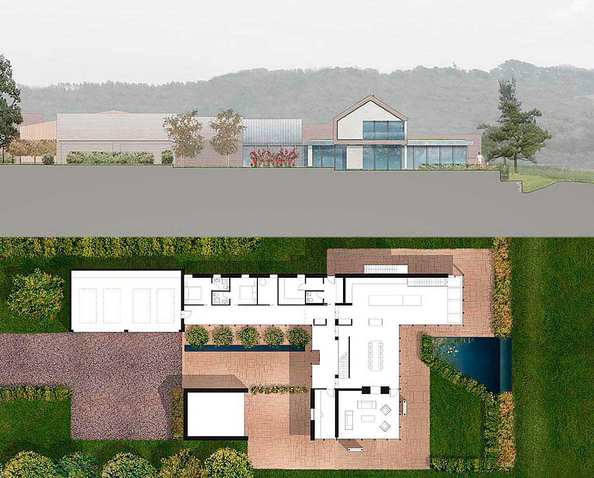 The plan drawing of View Point (Para 55). Designed by Hawkes Architecture, this energy efficient grand design, follows passive house principles.
