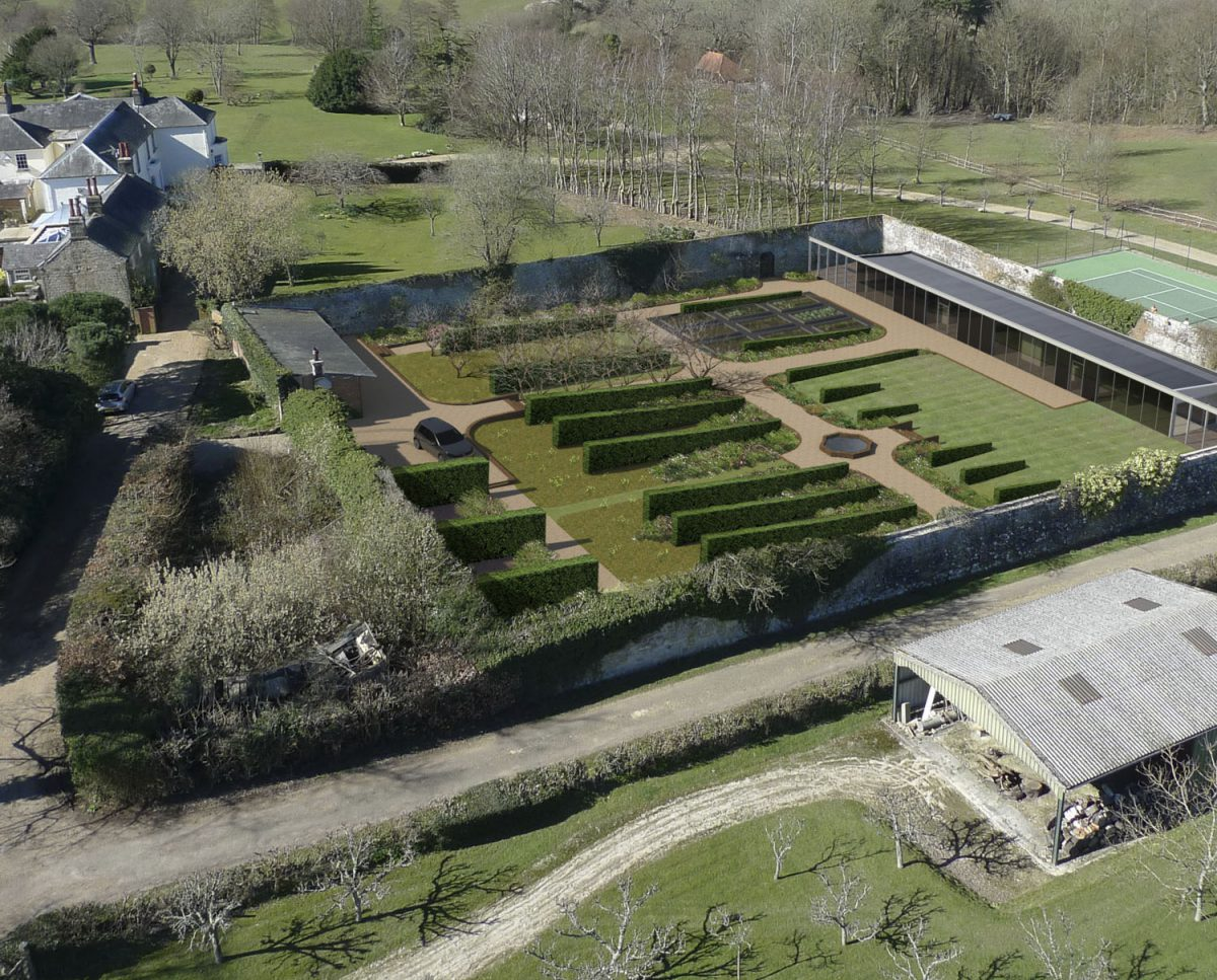Aerial view of Walled Garden, a sustainable low energy family home, designed by Hawkes Architecture.