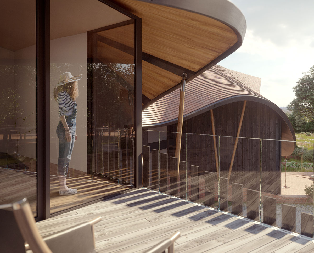 Balcony render of Water Lane (Para 79). Designed by Hawkes Architecture, this energy efficient grand design, follows passive house principles.
