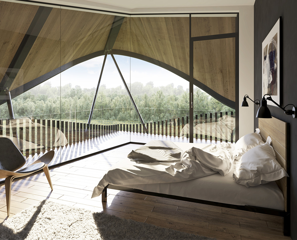 Bedroom render of Water Lane (Para 79). Designed by Hawkes Architecture, this energy efficient grand design, follows passive house principles.