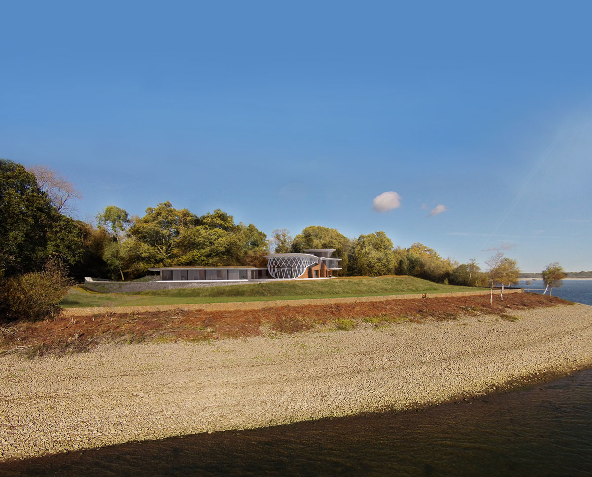 The south elevation of Waterside. Designed by Hawkes Architecture this grand design follows passive house principles.