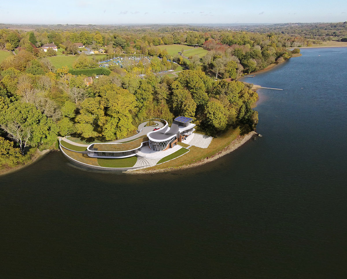 The aerial view of Waterside. Designed by Hawkes Architecture this grand design follows passive house principles.